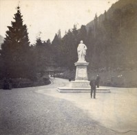 France Pyrenées Luchon Statue De D Etigny Ancienne Stereo Photo Stereoscope 1900 - Stereoscopic