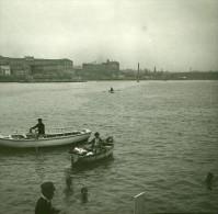 Italie Naples Nageurs Dans La Baie Ancienne Stereo Photo Stereoscope Possemiers 1910 - Stereoscopic