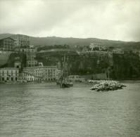 Italie Sorrente Le Port & La Jetée Ancienne Stereo Photo Stereoscope Possemiers 1910 - Stereoscopic