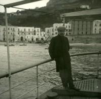 Italie Capri Bateau à L'ancre Devant La Marina Ancienne Stereo Photo Stereoscope Possemiers 1910 - Stereoscopic