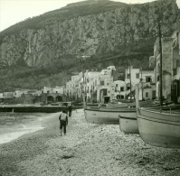 Italie Capri Marina Grande Ancienne Stereo Photo Stereoscope Possemiers 1910 - Stereoscopic