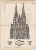 Dom Zu Köln Architecture Plate Around 1895 TWO PLATES (228) - Prints & Engravings