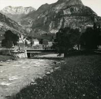 France Pyrenees Gavarnie Village & Pic De Sangue Ancienne Stereo Photo Stereoscope Possemiers 1910 - Stereoscopic