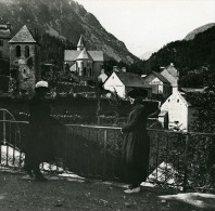 France Pyrenees Gavarnie Gedre Village Ancienne Stereo Photo Stereoscope Possemiers 1910 - Stereoscopic