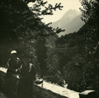 France Pyrenees Saint Sauveur Pont Napoleon & Gouffre Ancienne Stereo Photo Possemiers 1910 - Stereoscopic