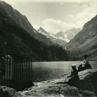 France Pyrenees Cauterets Le Lac De Gaube Ancienne Stereo Photo Stereoscope Possemiers 1910 - Stereoscopic
