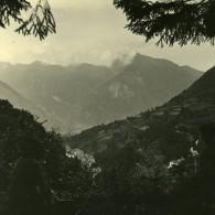 France Pyrenees Eaux Bonnes Laruns Panorama Ancienne Stereo Photo Stereoscope Possemiers 1910 - Photos Stéréoscopiques