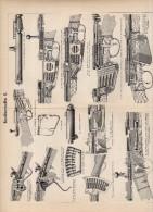 Guns & Riffles Plate Around 1895 (scan = Front & Back)   (232) - Prints & Engravings