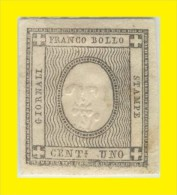 SI53D Italia Sardegna 1861 1 C. - Cifra In Rilievo Fr. Per Le Stampe  Cifra 1 Capovolta Unificato 16c - Sardinië