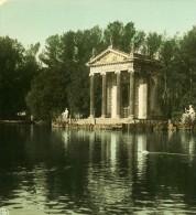Italie Rome Villa Borghese Ancienne Stereo Photo Stereoscope Colorisee NPG 1900 - Stereoscopic