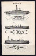 Panzerschiffe War Ships Plate Around 1895 (scan = Front & Back)   (234) - Prints & Engravings