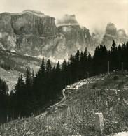 Italie Alpes Dolomites Groupe De Sella Route De Pordog Ancienne Stereo Photo Stereoscope NPG 1900 - Stereoscopic