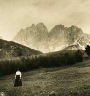 Italie Alpes Dolomites Pomagagnon Vue De Cortina Ancienne Stereo Photo Stereoscope NPG 1900 - Photos Stéréoscopiques