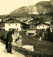 Italie Alpes Dolomites Cortina Maisons D Alvero Ancienne Stereo Photo Stereoscope NPG 1900 - Stereoscopic