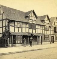 Royaume Uni Warwickshire Stratford On Avon Maison De Shakspeare Ancienne Photo Stereo Bedford 1865 - Stereoscopic