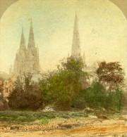 Royaume Uni Lichfield Cathedrale Panorama Ancienne Photo Stereoscope Colorisee 1860 - Stereoscopic
