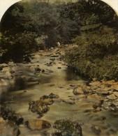 Royaume Uni Paysage Riviere Ancienne Photo Stereoscope Aquarellée 1860 - Stereoscopic