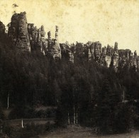 Allemagne Suisse Saxonne Rocher Dans La Bilagrund Ancienne Photo Stereoscope 1860 - Stereoscopic