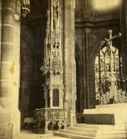 Allemagne Nuremberg Eglise St Lorenz Ancienne Photo Stereoscope Konig 1860