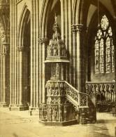 France Cathedrale De Strasbourg La Chaire Ancienne Photo Stereoscope 1860 - Stereoscopic