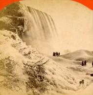 USA Canada Chutes Du Niagara Hiver Ancienne Photo Stereoscope Baker 1880 - Stereoscopic