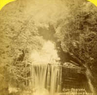 USA Watkins Glen Chutes Vue Du Pont Suspendu Ancienne Photo Stereoscope Purviance 1875 - Stereoscopic