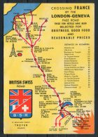 Crossing France By The London Geneva Pass Road British Swiss B.S.R. Troyes Hotel Tourist Advertising Map Postcard - Maps