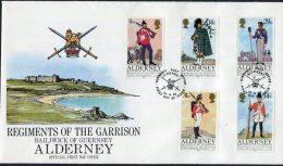 1985 Alderney  Regiments Military Uniforms Bagpipes FDC - Alderney