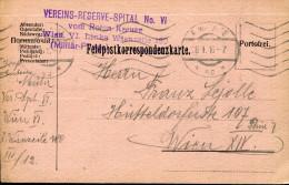 AUSTRIA  WWI FELDPOST VEREINS-RESERVE-SPITAL NO-VI. ROTEN KREUZE - Cartas
