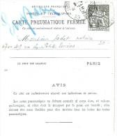 LPU9/B - FRANCE CARTE LETTRE PNEUMATIQUE - Pneumatic Post