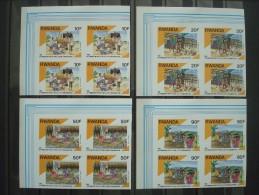 RWANDA 1990 Nr 1384/1387 BLOCS OF 4 IMPERFORATED / MNH ** / COT. 70 EUR / 1991 - 1990-99: Ongebruikt