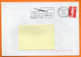 63 CLERMONT FERRAND  AEROPORT (  AVION )   11 / 2 / 1993 Lettre Entière N° M 262 - Postmark Collection (Covers)