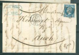 YVERT N°14 Sur  Lac  Oblitéré Pc 2272 ( Nîmes ) En 1861 Af14906 - 1849-1876: Classic Period