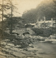 Royaume Uni Pays De Galles Bettws Y Coed Pont Y Pair Ancienne Photo Stereoscope Bedford 1865 - Stereoscopic