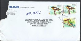Singapore Airmail Birds 2007 Yellow Rumped Flycatcher 20c, Stork-billed Kingfisher 50c, Postal History Cover Sent To Pak - Cigognes & échassiers