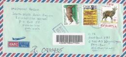 Ethiopia 2007 Kombolcha Bushbuck Rhinoceros Statue Express Barcoded Registered Cover - Ethiopië