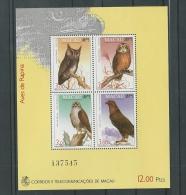 PORTUGAL MACAU -MACAO- 1993 SG MS 810 OWLS SHEET Mnh CV £20 IN 2010 - Hiboux & Chouettes