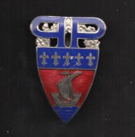 Ancien Insigne De Gardien De La Paix Email, Dos Lisse, Double 2  Attaches (Préfecture De Police De Paris) - Police & Gendarmerie