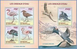 ic14122ab Ivory Coast 2014 Water birds 2 s/s