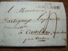 Lettre De Bayonne Pour Tarbes - 1817 - - 1801-1848: Précurseurs XIX