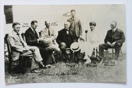 President Coolidge, Henry Ford, Thomas Edison, Russell Firestone at PLYMOUTH, VERMONT, AUGUST 1924 real photo postcard