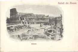 SALUTI DA ROMA - ITALIE - CPA DOS SIMPLE Du Colosseo - ENCH175 - - Roma (Rome)
