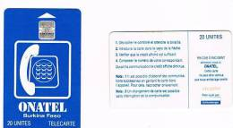 BURKINA FASO  -  ONATEL (CHIP)  - 1995 BLUE 20 (CODE AT RIGHT)   - USED  -  RIF. 371 - Burkina Faso