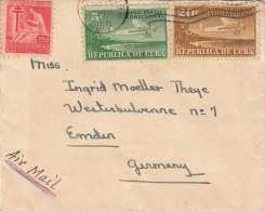 CUBA 1950 - 3 Fach Frankierung Auf Kleinem Brief Nach Emden - Kuba