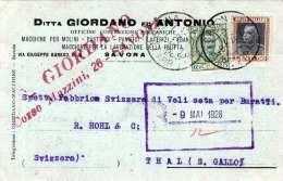 ITALIEN 1928 - 50 + 25 C Auf Firmen-Pk Mit Zensur Von Savonna Nach Thal Schweiz - Ganzsachen