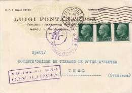 ITALIEN 1942 - 3 X 25 C Auf Firmen-Pk Mit Zensur Von Napoli Nach Thal Schweiz - 1900-44 Victor Emmanuel III.