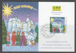 CARTE DE NOËL DE L´OFFICE DES TIMBRES DU LUXEMBOURG - NOEL 2004 : ENFANTS CHANTANT, BONHOMME DE NEIGE, CHATEAU CLERVAUX - Noël