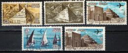 EGITTO - 1978 - AEREO CHE PLANA SULLE PIRAMIDI DI GIZA - SULLE BARCHE SUL NILO E SAKHARA - USED - Posta Aerea
