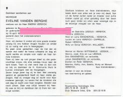 Vanden Berghe Eveline Josephine Versyck Dejonckheere Vanhaelewijn Beveren Roeselare    Bidprentje Doodsprentje - Religion & Esotericism