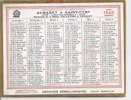 AUBARET & SAINT-CYR  LYON  1940  RECHERCHES D'HERITIERS- ARCHIVES GENEALOGIQUES 13X17CM - Calendriers